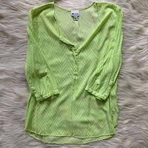 Stylus 3/4 Sleeve Top, Lime Green + White, L